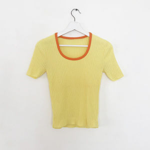 vintage 60s 70s yellow orange ribbed tee top S M